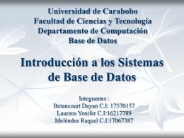 IntroduccionSMBD - Universidad de Carabobo