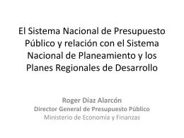 El Sistema Nacional de Presupuesto Público y relación con el