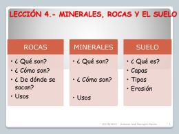 LECCIÓN 4.- MINERALES ROCAS Y EL SUELO