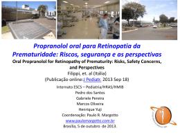 Propranolol oral para Retinopatia da Prematuridade
