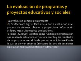 ANGELINA La evaluación de programas y proyectos educativos y