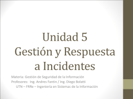 La gestión de incidentes - tps5to-utn-frre