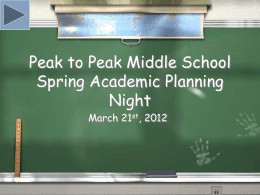 MS Academic Planning - Peak to Peak Charter School