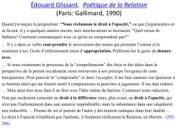 Édouard Glissant. Poétique de la Relation (Paris: Gallimard, 1990)