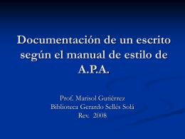 Documentación de un escrito según el manual de estilo de A.P.A.