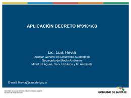 Procedimiento según el Decreto Nº 0101/03 Estudio de Impacto