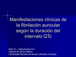 Manifestaciones clínicas de la fibrilación auricular según la duración