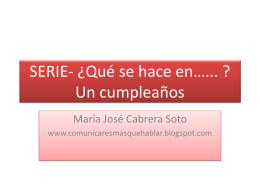 SERIE- ¿Qué hacemos en…... ? Un cumpleaños