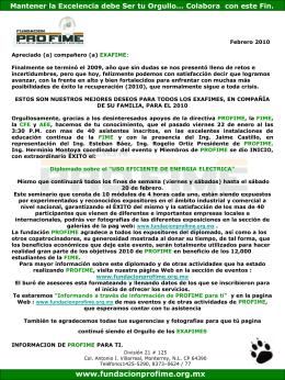 Información de Febrero 2010 - Fundacion Pro-FIME