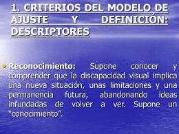 1. CRITERIOS DEL MODELO DE AJUSTE Y DEFINICIÓN