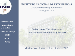 CIIU - Instituto Nacional de Estadísticas