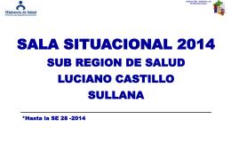 """AÑO 2014 (A la SE 28) - Sub Región de Salud """"Luciano Castillo"""