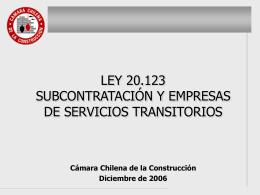 Ley 20.123, Subcontratación y Empresas de Servicios Transitorios