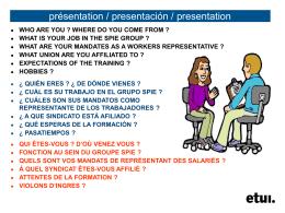 présentation / presentación / presentation