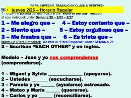PARA EMPEZAR, TRABAJO EN CLASE & DEBERES