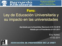 Ley de Educación Universitaria y su impacto en las universidades