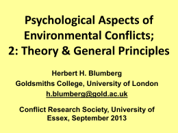 - Conflict Research Society Annual Conference