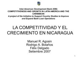 LA COMPETITIVIDAD Y EL CRECIMIENTO EN NICARAGUA