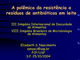 RESÍDUOS de Medicamentos Veterinários EM ALIMENTOS