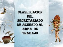 clasificacion del secretariado de acuerdo al area de trabajo