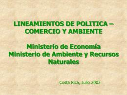 Lineamientos de Política en Comercio y Medio Ambiente