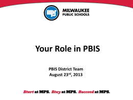 Your Role in PBIS