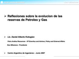 Reflexiones sobre la evolución de las reservas de Petróleo y Gas.