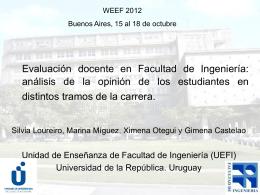 Evaluación docente en Facultad de Ingeniería: análisis de la