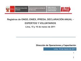 Registros de ONGD, ENIEX, IPREDA, DECLARACIÓN ANUAL