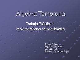 Algebra Temprana