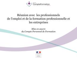 Présentation du CPF en Poitou-Charentes