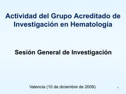 Diciembre 2009 - Servicio de Hematologia Hospital La Fe