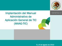 pres-implementacion-maag-tic - Instituto Tecnológico de Pachuca