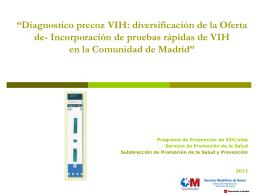 Servicio de Prevención y Diagnóstico precoz del VIH y otras ITS en