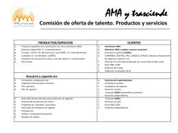 AMA y trasciende Comisión de oferta de talento. Productos y servicios