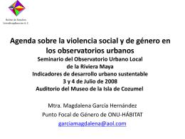 Agenda sobre Violencia Social y Género en los Observatorios