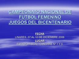 campeonato nacional de futbol femenino juegos del