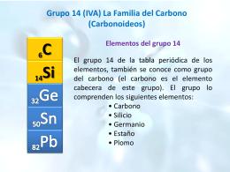 Grupo 14 (IVA) La Familia del Carbono (Carbonoideos)