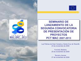 Segunda convocatoria de proyectos: El eje 3 del PCT MAC 2007-2013