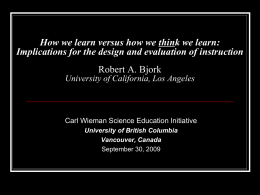 learning - Carl Wieman Science Education Initiative