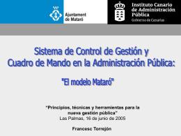 El modelo Mataró