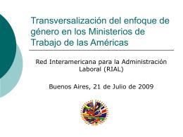 Transversalización del enfoque de género en los Ministerios de
