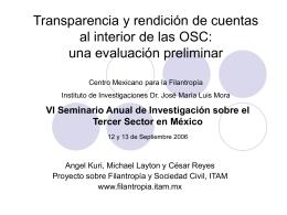 Transparencia y rendición de cuentas al interior de las OSC`s