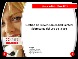 Swiss Medical Group Concurso Bialet Massé 2013