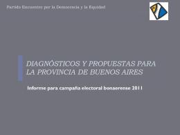 diagnósticos y propuestas para la provincia de buenos aires