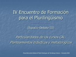 III Encuentro de Formación para el Plurilingüismo. (Espacio