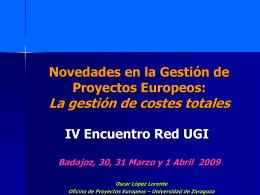 Encuentro de Gestores de Proyectos Europeos. La gestión de