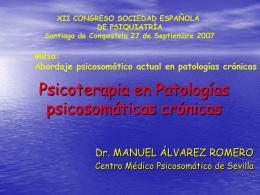 III. Psicoterapia en patologías crónicas