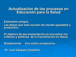 Actualización de los procesos en Educación para la Salud