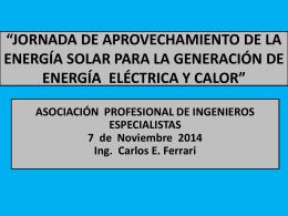 10:00 hs Presentación Ing. Carlos Ferrari